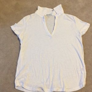 James Perse white Johnny collar short sleeve